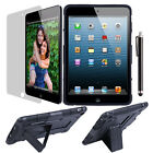 Hard Soft Combo Rugged Dual Impact Case Cover W/Kickstand For Apple iPad mini
