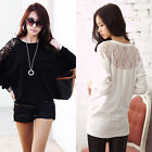 Fashion Loose Women Girl Batwing Top Dolman Lace T-Shirt Long Sleeve Blouse Top