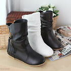 New Women's Ankle Boots Side Tassels Comfort Flat Heel Shoes AU All Size Y746