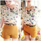Fashion Lady Girl Bird Heart Print Batwing Dolman Short Sleeve Top Blouse Tshirt