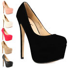 92S NEW WOMENS ROUND TOE LADIES PLATFORM HIGH STILETTO HEEL COURT SHOES SIZE 3-8