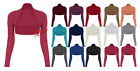 Womens Girls Long Sleeve Shrug Ladies Bolero Cardigan Cropped Top - All Colours