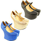 WOMENS GLITTER SCULPTED C SHAPE CUT OUT WEDGE HIGH HEEL ANKLE SHOE BOOTS NEW 3-8