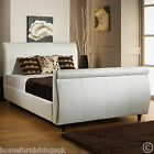 FAUX LEATHER 3FT/3FT6/4FT/4FT6/5FT/6FT SLEIGH BED + MEMORY OR ORTHO MATTRESS