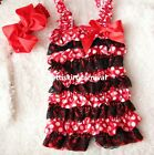 Baby Minnie Mouse Red White Polka Dots Black Lace Rompers Bow Headband 2pc 0-3Y