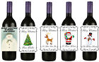Personalised Christmas Bottle Label stickers / labels Snowman x-Mas Tree Rudolph