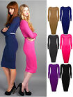 Womens Long Sleeved Midi Dress Bodycon Fit Ladies Black Red Grey New Sz 8-14