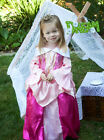 Girls Halloween Sleeping Beauty Costume Hot Pink Crystal Lace Party Dress 2-8Y