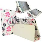 FLOWER PINK AND GREY PRINT IN WHITE PU LEATHER CASE COVER FOR  APPLE IPAD MINI