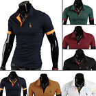 Mens Concise Style Solid POLO Tee Shirt Short Sleeve Fashion T-shirt Top B82U
