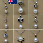 New 925 silver freshwater pearl necklace & Earrings Sets chain White Jewellery