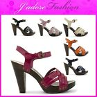 NEW LADIES ANKLE STRAPPY HIGH HEEL BLOCK WOODEN EFFECT SANDALS SIZES UK 3-8