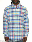 RALPH LAUREN POLO Button Up New $98 Mens Blue Plaid Shirt Choose Size