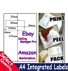 A4 EBAY / AMAZON INTEGRATED LABELS STICKY ADDRESS POST PACK PAPER INKJET