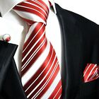 445CH/ Silk Necktie Set by Paul Malone . Red and White Stripes