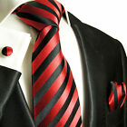 452CH/ Silk Necktie Set by Paul Malone . Red and Black Stripes