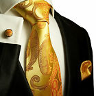 517CH/ Silk Necktie Set by Paul Malone . Gold Paisley