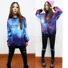 Womens Galaxy Space Starry Print long Sleeve Tops Round T Shirt Hoodie  2 styles