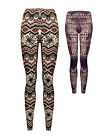Womens Printed Aztec Leggings Full Length Pink Blue Ladies New Size 8-14