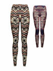 Womens Printed Aztec Leggings Full Length Pink Blue Ladies New Size UK 8-14