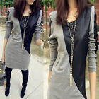 Fashion Womens Shrug Leather Stitching Long Sleeve T-shirt Casual Tops Blouse