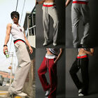 Mens Casual Training Jogging Fit Sport Double Rope Baggy Gym Pants Long Trousers