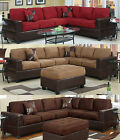 Sectional Sofa Trappings Microfiber Sectional Couch 2 Pc Living room Set 3 Color