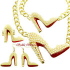 Hollywood Starlet Pearl Crystal Gold HIGH HEEL STILETTO SHOE Statement Jewelry