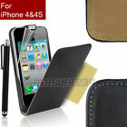 New Slim Leather Flip Case Cover for Apple iPhone 4 & 4S + FREE Screen Protector