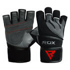 RDX Gel Weight Lifting Body Building Gloves Gym Straps Training Leather Train US