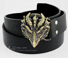 Dragon Monster Head Anime Role Brass Buckle Real Leather Belt Cowboys Cowgirls