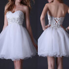 Empire Waist Beaded Evening Formal Prom Gown Wedding Cocktail Party Short Dress