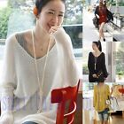 New Womens V neck Oversized Batwing Slouchy Knit Shirts Jumper Loose Sweater Top