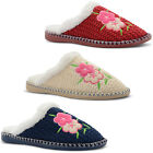 New Ladies Dunlop Cosy Knitted Faux Fur Lined Flower Slippers Mules Size UK 3-8