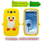 2 X PENGUIN SILICONE SKIN CASE & SCREEN PROTECTOR FITS SAMSUNG GALAXY S3 i9300