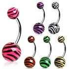 New Surgical Steel Tiger Zebra Stripe Print Naval Belly Bar Various Colours