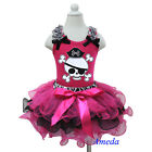 Halloween Zebra Black Hot Pink Petal Pettiskirt Tank Top 2pc Party Dress 1-7Y