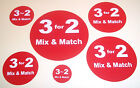 3 for 2 Mix & Match Red Promotional Stickers Labels Tags 6 Sizes To Choose From