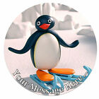 Pingu Personalised Edible Rice/Icing Cake Topper 7.5 inch Circle