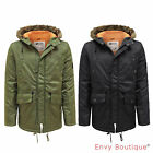 MENS D-STRUCT FAUX FUR HOOD QUILTED PADDED LINED PARKA WINTER JACKET COAT S-XXL