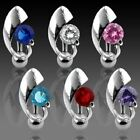 Reverse Top Down Navel Belly Button Ring Gemmed Shield Centered Piercing CZ *274