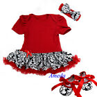 Xmas Baby Red Damask Romper Pettiskirt Bodysuit Crib Shoes Party Dress Bow 0-18M