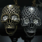 Skull Head Pendant Chain Necklace Gold Silver Mens Biker Hip Hop Faishon Jewelry