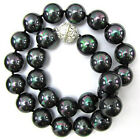 "8mm 10mm 12mm 14mm Natural Black South Sea Shell Pearl Necklace 18""AAA+"