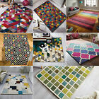 ILLUSION MODERN FUNKY GEOMETRIC SHAPES BRIGHT THICK 100% WOOL PILE SOFT RUG