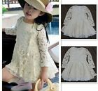 New cute kids girls lace dresses children princess spring dress clothes size 3-7