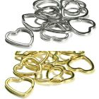 Lot of 10 Big Heart Shaped Steel Split Rings Keyring Ring For Keys Purses +