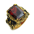 Stainless Steel Huge Red Crystal Golden Mens Ring Size  8 9 10 11 R466