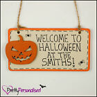 Personalised Handmade Wooden Happy Halloween Plaque Sign Family Name Shabby Chic