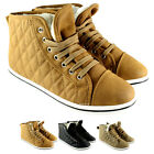 WOMENS SPORT QUILTED WARM FUR LINED HIGH TOP THICK LACE UP SNEAKERS UK SIZES 3-8